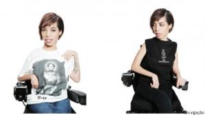 Modelo Jilian Mercado em cadeia de rodas com novos moletons da marca