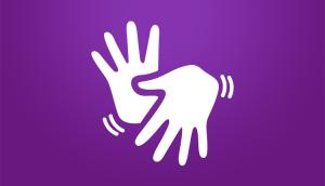 Símbolo de Libras em um fundo na cor violeta