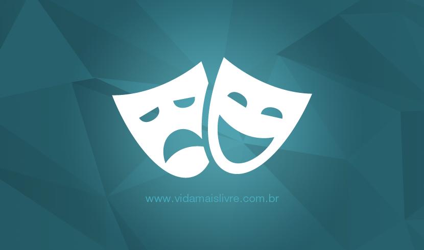 Ícone de duas máscaras, representando o teatro, em fundo verde