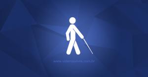 Símbolo da deficiência visual, em fundo azul.