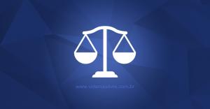 Ícone que representa a balança da justiça, em um fundo azul