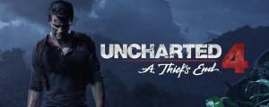 Nathan Drake, personagem principal de Uncharted, está em primeiro plano, ao lado de vegetações. Ao fundo, uma paisagem montanhosa. No texto, Uncharted 4: A Thief's End.