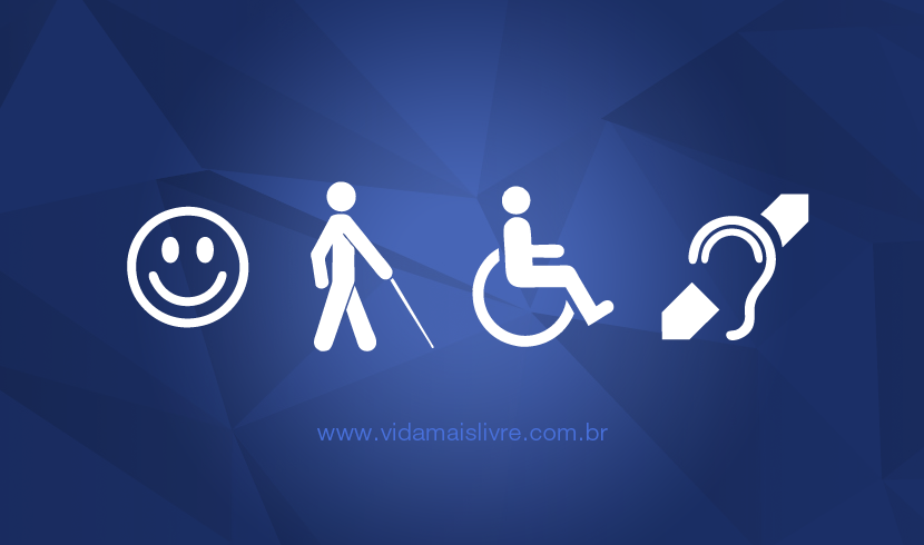 Símbolos das deficiências intelectual, visual, física e auditiva, em fundo azul.