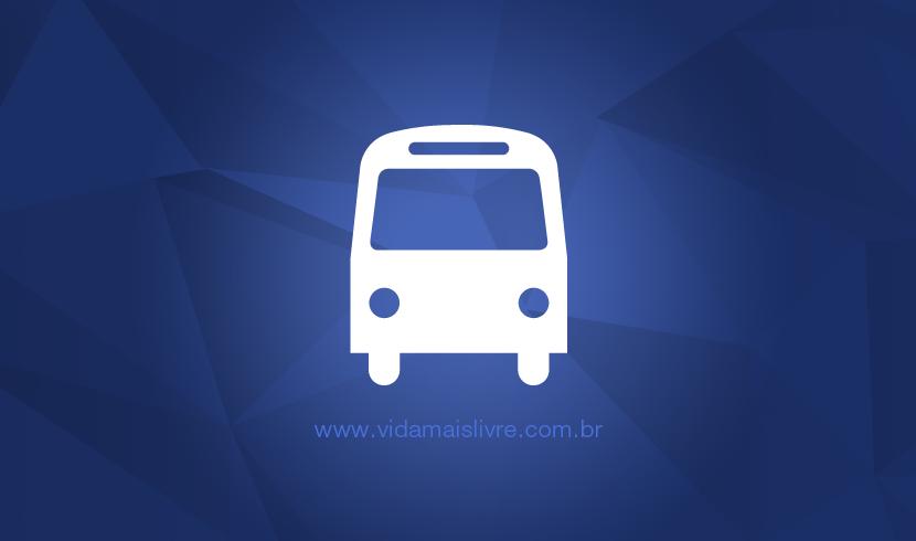 Ícone que representa um ônibus, em fundo azul.