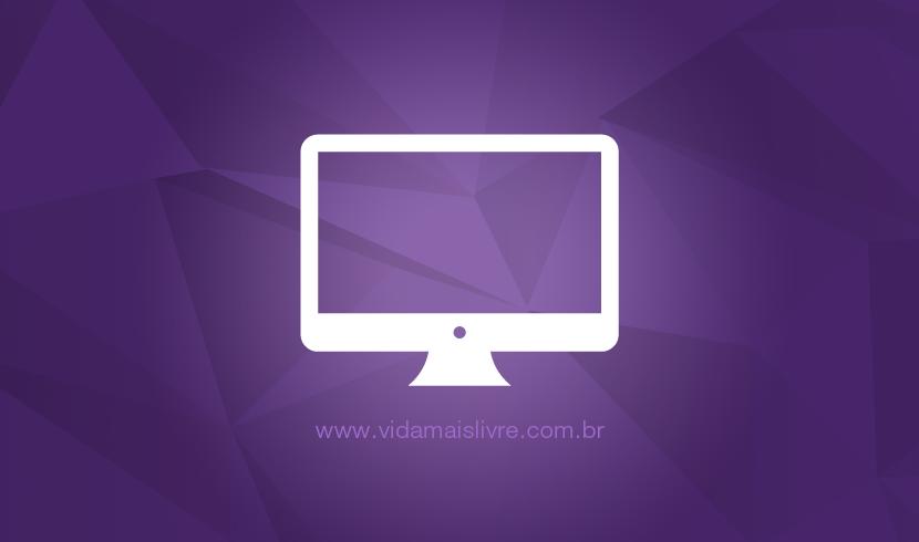 Ícone que representa um monitor de computador, em fundo roxo.