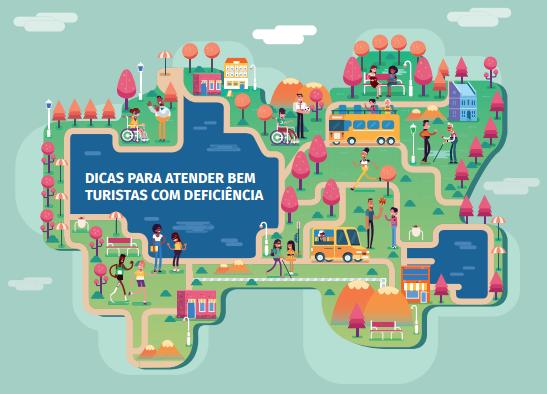 Capa do guia traz um desenho que representa um mapa ilustrado, com veículos, ruas, árvores e pessoas representados.