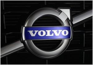 """ascendente saindo da parte superior direita , com a palavra """"Volvo"""" ao centro do círculo"""
