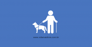 Em um fundo azul, ícone de cego com um cão-guia