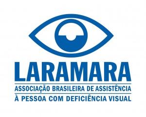 Logo da Associação Laramara traz a ilustração de um olho e o texto: Laramara - Associação Brasileira de Assistência à Pessoa com Deficiência Visual