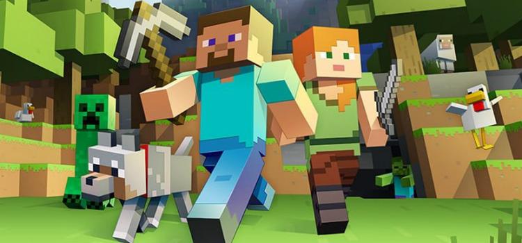 Ilustração do jogo com um rapaz, uma moça e um cachorro correndo. Todos têm formas pixelizadas formadas por cubos