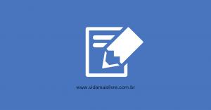 Em fundo azul, arte minimalista na cor branca, com ícones de um caderno e um lápis