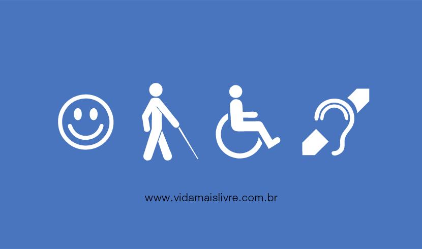 Em fundo azul, ícones da deficiência intelectual, visual, motora e auditiva em branco, dispostos lateralmente