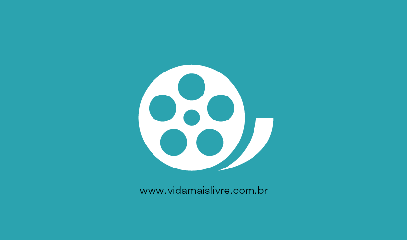 Em fundo verde, ícone branco de um rolo de filme de cinema