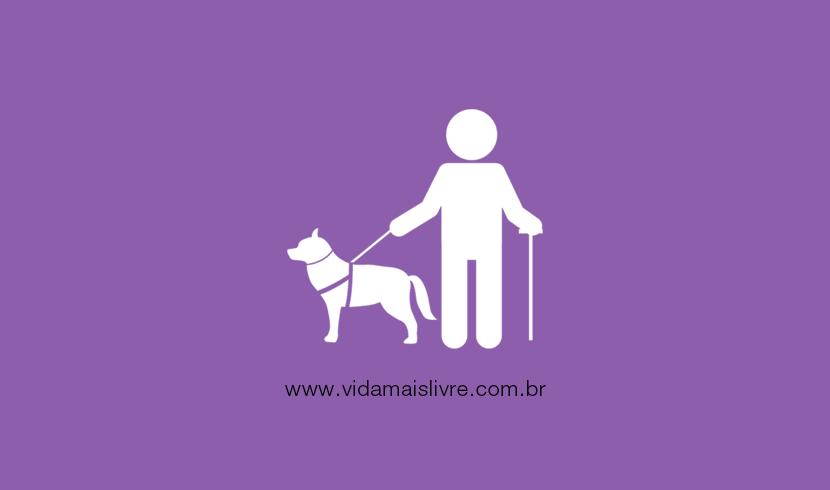 Em fundo roxo, ícone em branco de um cego com cão-guia e bengala