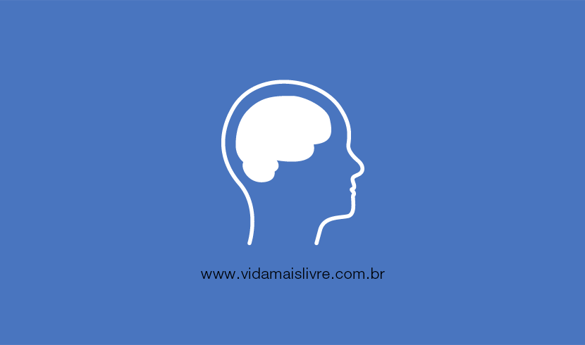 Em fundo azul, ícone que representa a deficiência intelectual em branco