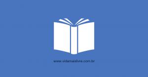 Em fundo azul, ícone branco que representa um livro