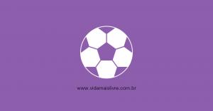 Em fundo roxo, ícone que representa uma bola de futebol em branco