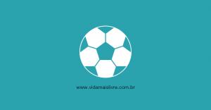 Em fundo verde, ícone que representa uma bola de futebol em branco