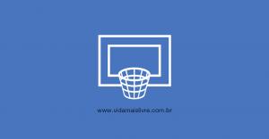 Em fundo azul, ícone em branco de uma cesta de basquete