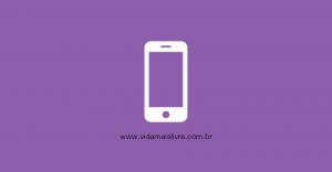 Em fundo roxo, ícone em branco de um smartphone