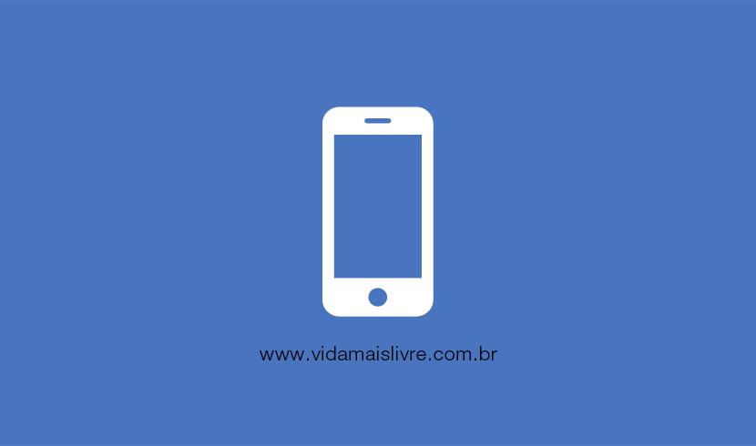 Em fundo azul, ícone de um smartphone em branco