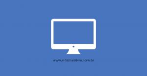 Em fundo azul, ícone branco