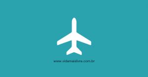 Em fundo verde, ícone em branco de um avião