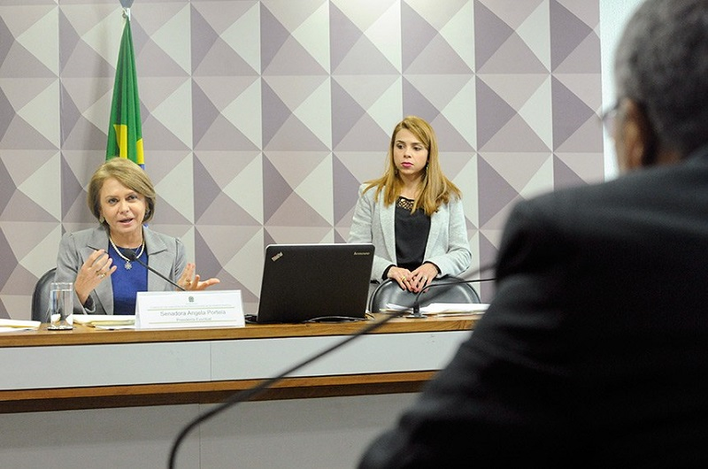 Foto de uma sala fechada. Em plano médio, estão duas mulheres loiras, sendo uma de 56 anos e a outra mais jovem. À direita, a mulher mais velha está sentada atrás de uma bancada e fala ao microfone. À esquerda, a mais jovem está de pé e observa