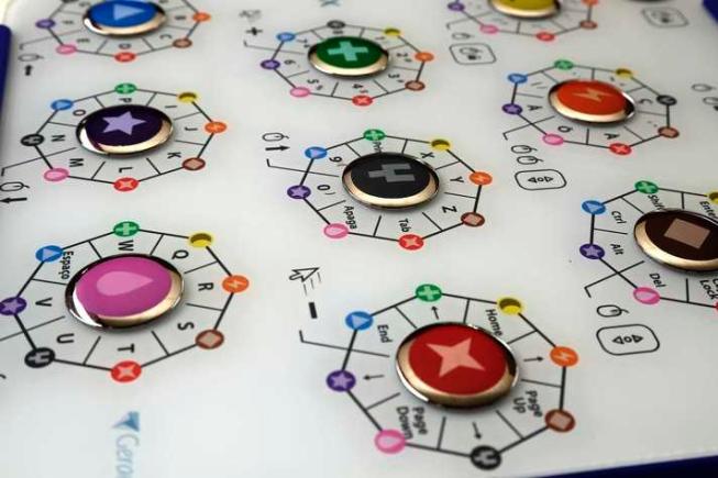 Foto do Teclado Inteligente Multifuncional TiX. O equipamento tem uma superfície branca, com botões grandes e coloridos.