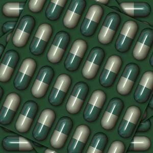 Arte digital de uma cartela de cápsulas em verde e branco
