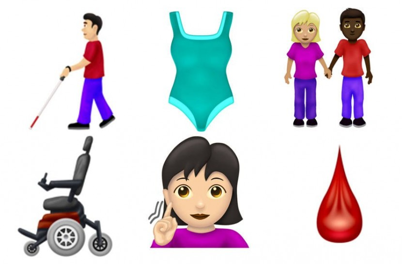 Novos emojis sugeridos para inclusão, como cadeira de rodas, cego com bengala e casais do mesmo gênero de mãos dadas