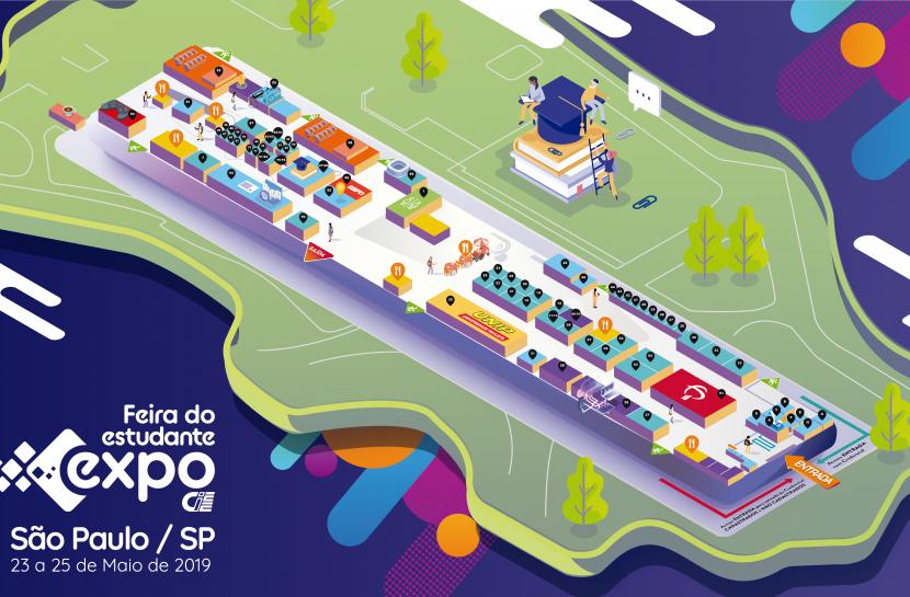 Ilustração lúdica com a planta do prédio da Bienal do Ibirapuera