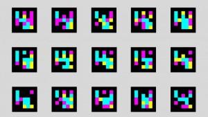 Ilustração com 15 QR Codes coloridos em 3 linhas