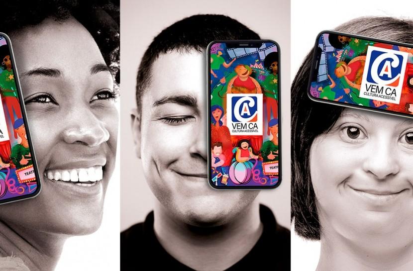 Arte com foto do rosto de três pessoas, sendo que em cada uma delas há um celular com a capa do aplicativo Vem CA. Na primeira, o aparelho está cobrindo a orelha, na segunda o olho e na terceira a testa. para representar a surdez, cegueira e a deficiência intelectual.