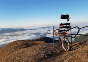 Foto de uma cadeira julietti. Ela tem apenas uma roda central e dois puxadores nas extremidades semelhante a uma maca hospitalar.