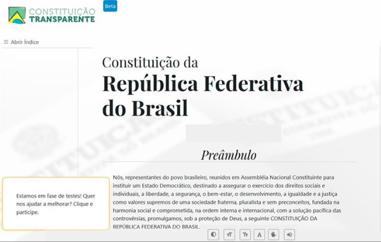Reprodução do site Constituição Transparente. No rodapé da imagem, há uma barra com vários recursos de acessibilidade