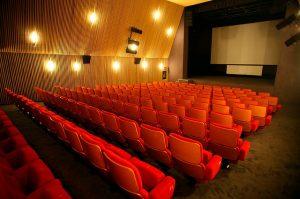 Foto de uma sala de cinema vazia. As cadeiras são vermelhas e há luzes acesas nas paredes.