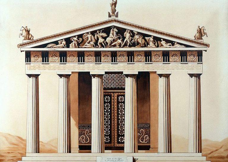 Reconstrução da fachada do templo de Asclépio, em Epidauro, na Grécia Antiga