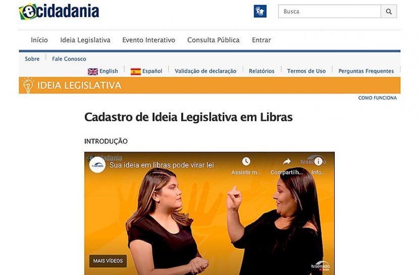 Imagem da página do portal e-cidadania, sendo que há um vídeo do YouTube com duas mulheres conversando em Libras.