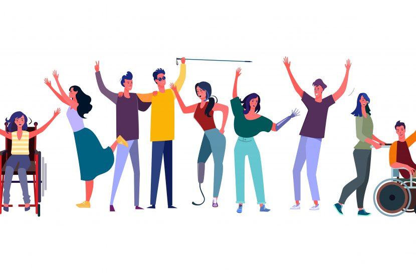 Ilustração com um grupo de pessoas com deficiências variadas, celebrando, felizes.