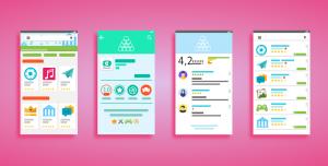 Ilustração colorida de quatro telas que exibem interfaces para baixar aplicativos