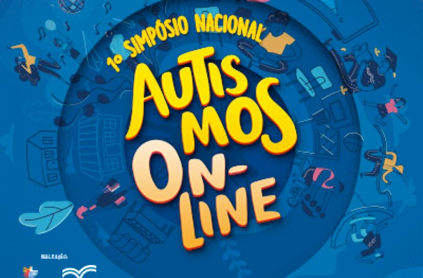 Arte em fundo azul com o texto 1º Simpósio Nacional Autismos on-line