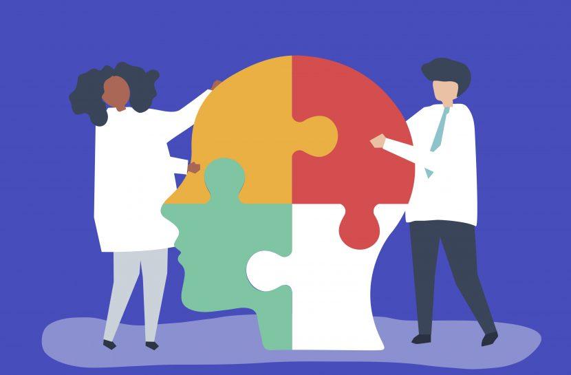 Arte com a ilustração com dois profissionais de saúde, em parceria, montando um quebra-cabeça de quatro peças de uma cabeça humana de perfil