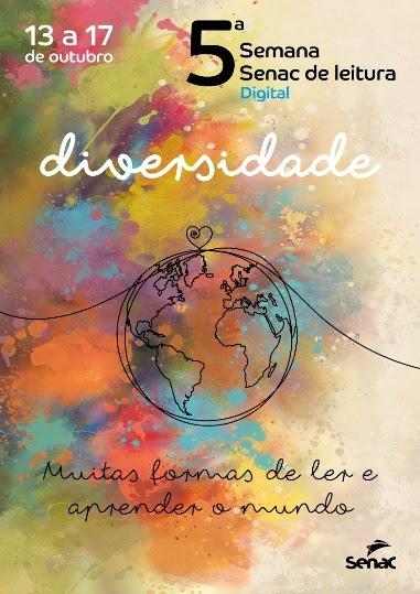 Arte em forma de cartaz vertical sobre a quinta edição da Semana Senac de Leitura Digital