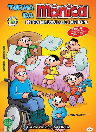 Capa de gibi da Turma da Mônica - Edição Especial Distrofia Muscular de Duchene.