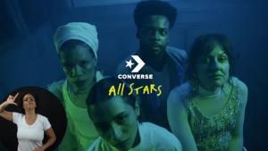 Print de tela do vídeo lançado pela Converse com os quatro personagens do filme