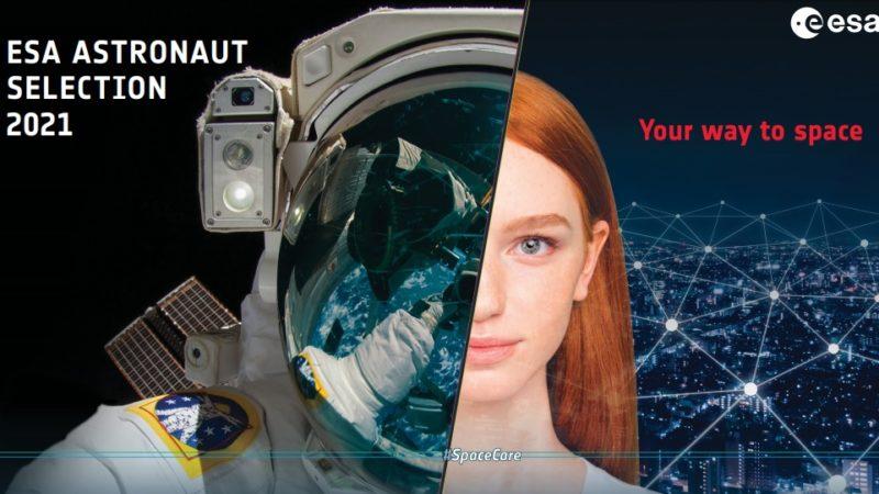 """Montagem com a foto de um astronauta e do rosto de uma mulher. Há o texto: """"ESA ASTRONAUT SELECTION 2021. Your way to space""""."""