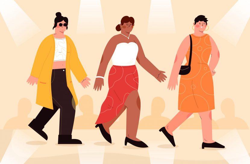 Ilustração de três pessoas diversas desfilando numa passarela de moda