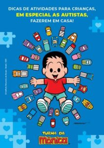 Arte da Turma da Mônica com o personagem autista, André, deitado no chão, rodeado por carrinhos de brinquedo