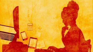 Ilustração em tons de laranja e amarelo, com o perfil de uma mulher sentada em frente à uma mesa com um monitor de computador